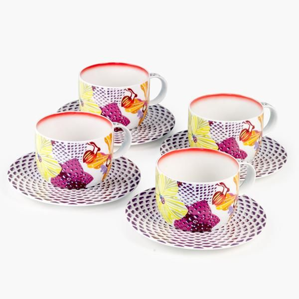 Enjoy the perfect cup of tea with this set of four Flowers teacup and saucers from Missoni Home. https://secure.white-almonds.com/collection.php?id=1182&p=missoni-home-flowers-set-of-4-tea-cups-with-saucers