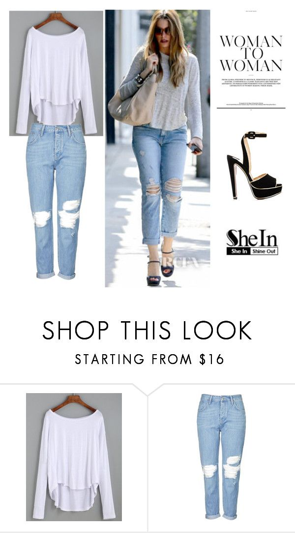 """SheIn"" by lovee-green ❤ liked on Polyvore featuring Current/Elliott, Topshop and Christian Louboutin"
