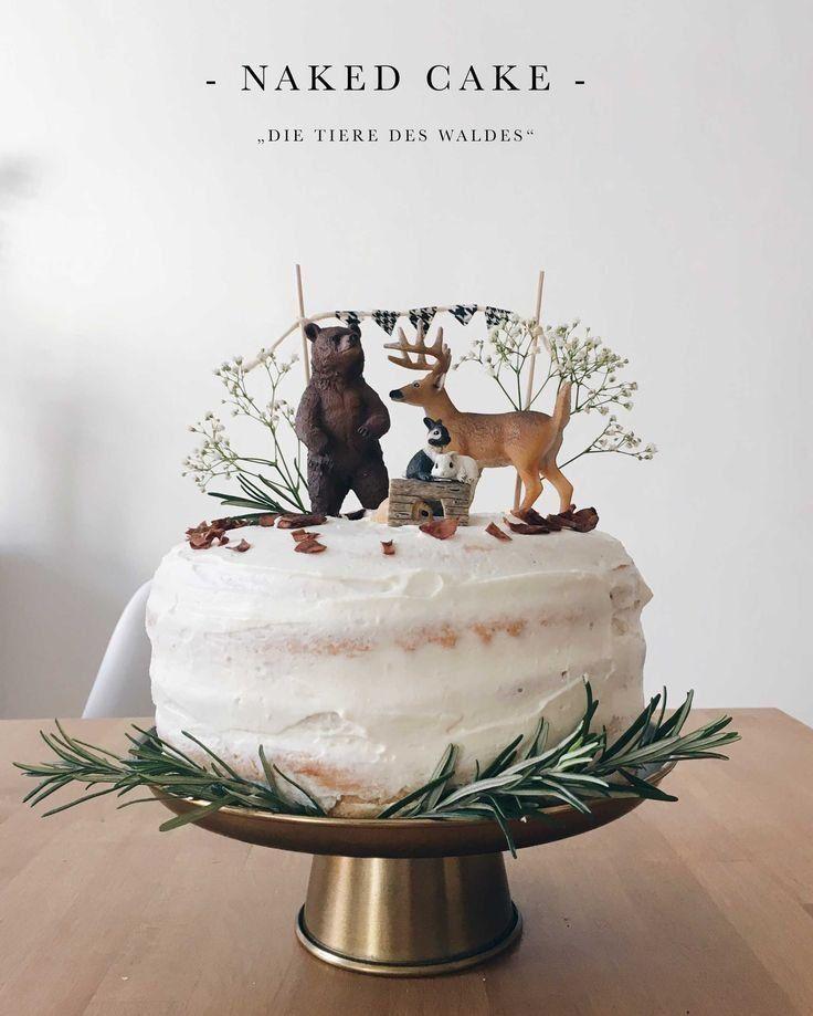 """Geburtstagstorte """"Die Tiere des Waldes"""" – Naked Cake mit Mascarpone    Source by…"""