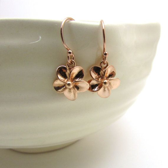 Rose gold plumeria earrings rose gold jewelry small flower