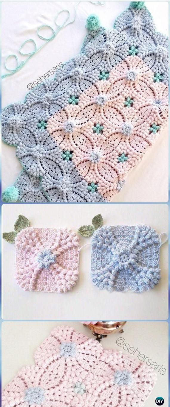 Crochet Pearl Flower Popcorn Square Motif Free Patterns [Video ...