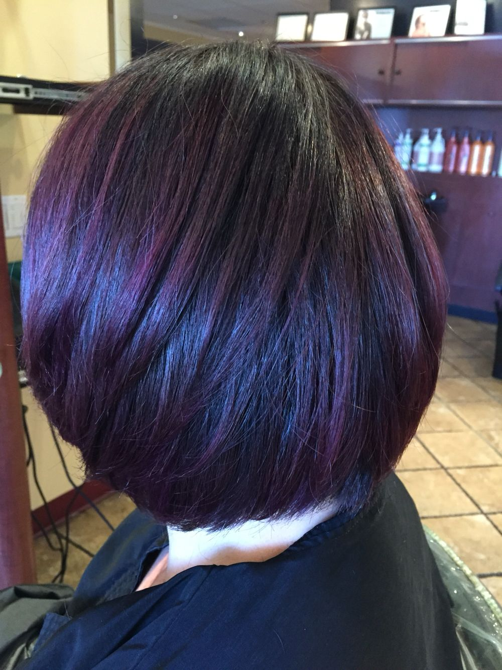 Cool Dark Base With A Smokey Purple Balayage Andrea Profilodayspa Westboro Ma Haircut For Thick Hair Dark Purple Hair Short Hair Styles