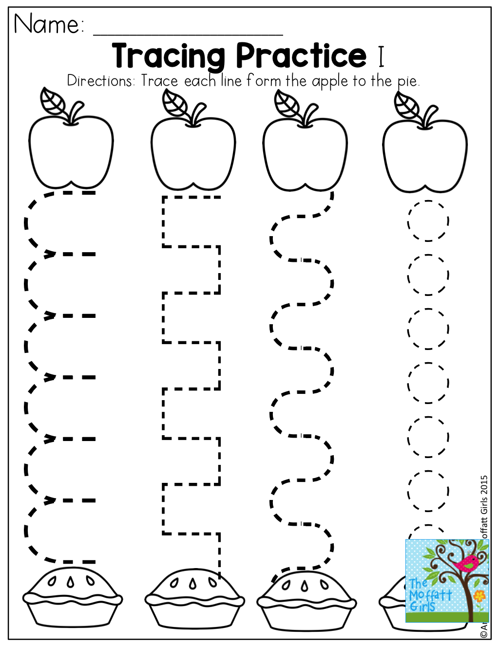 Tracing Practice and TONS of other fun pages for Back to School! Apple  Preschool ...