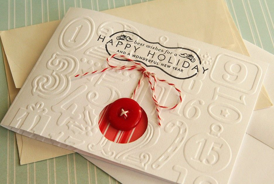 Christmas. Diy handmade christmas card letterpress with red button to card ornament. Ideas of simple handmade christmas cards.
