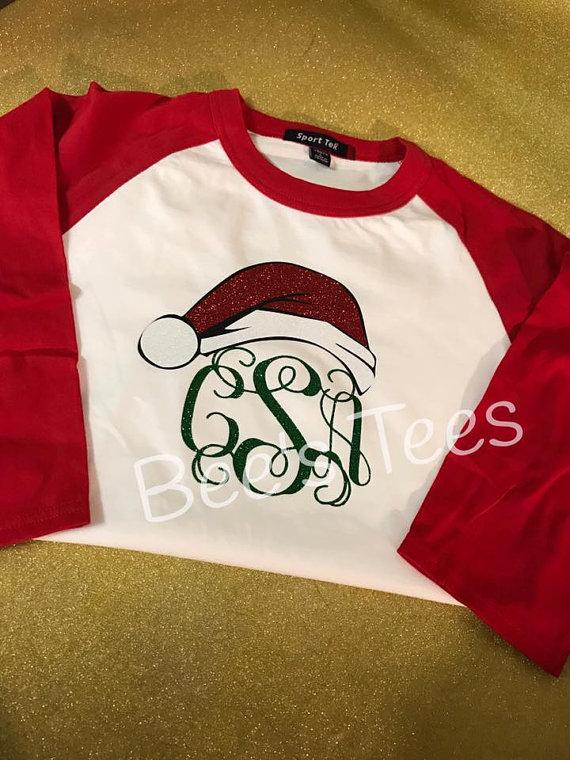 6ea10d158 Monogram Christmas Baseball Tee - Santa Hat Tee - Santa Tee ...