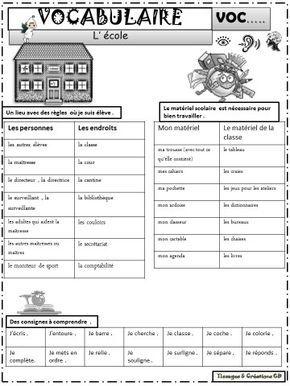 VOCABULAIRE - DOSSIER : L\'école CP / CE1 / CE2 | ce1 ce2 | Pinterest ...