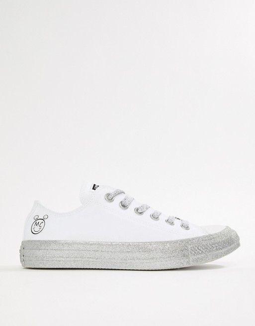 Zapatillas bajas con purpurina en blanco y plateado Chuck Taylor All Star de Converse X Miley Cyrus Converse iIszO9b
