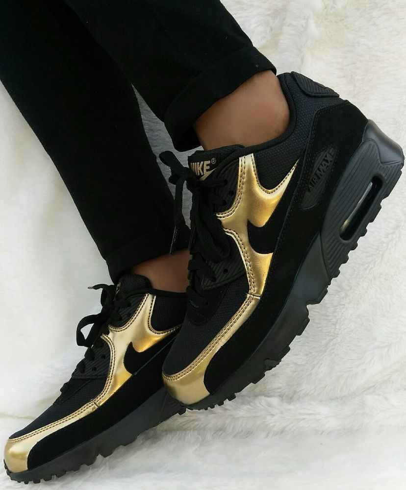 sports shoes 4dd49 41fbf 7 WOMENS NIKE AIR MAX 90 GOLD 95 97 270 BLACK RUNNING CASUAL CLASSIC SHOES  2018   eBay