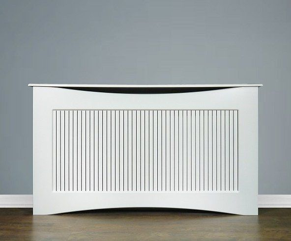 WHITE RADIATOR COVER LARGE SLATTED GRILLE LIVING ROOM FURNITURE CURVED CABINET‏