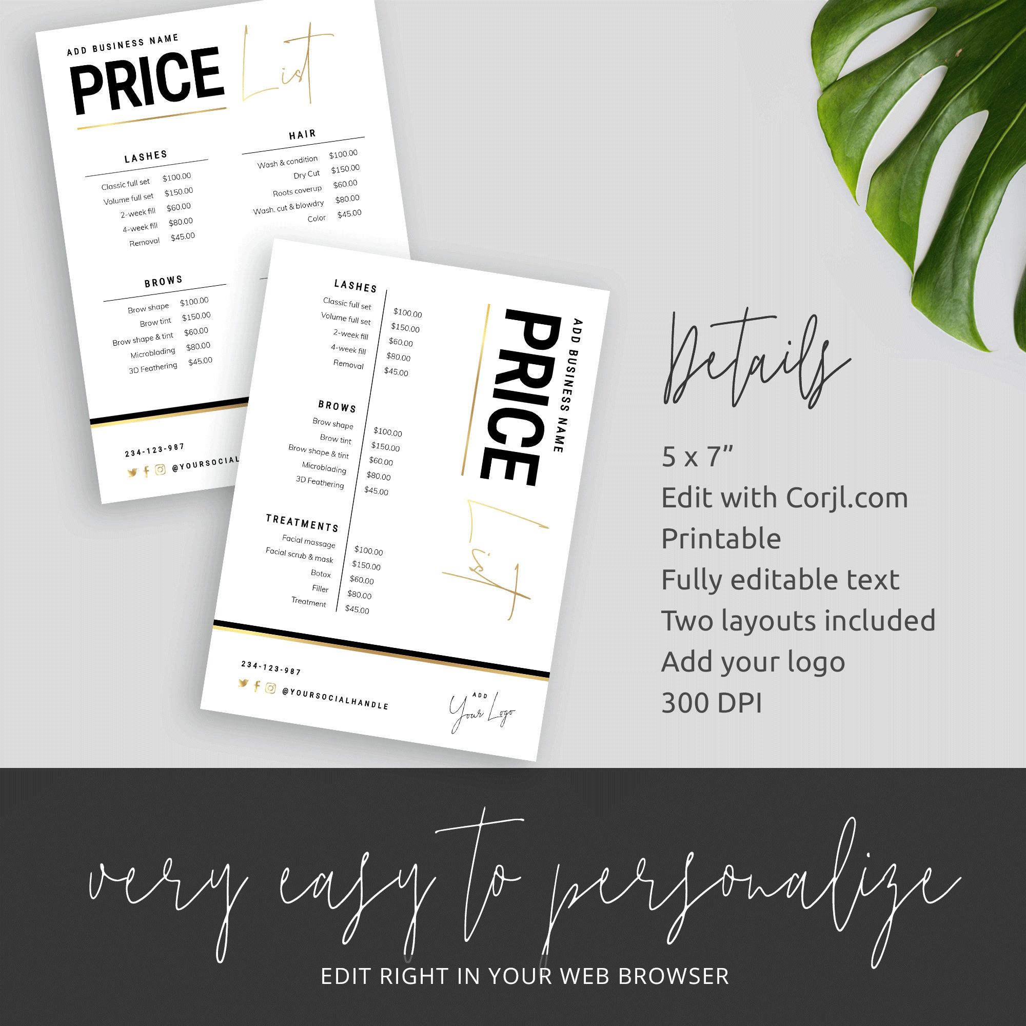 Faux Gold Price List Template Salon Editable Price List Posh Etsy Price List Template List Template Menu Design Layout