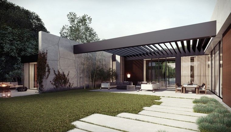 Dise o de jardines modernos hormigon porches pinterest for Iluminacion jardines modernos