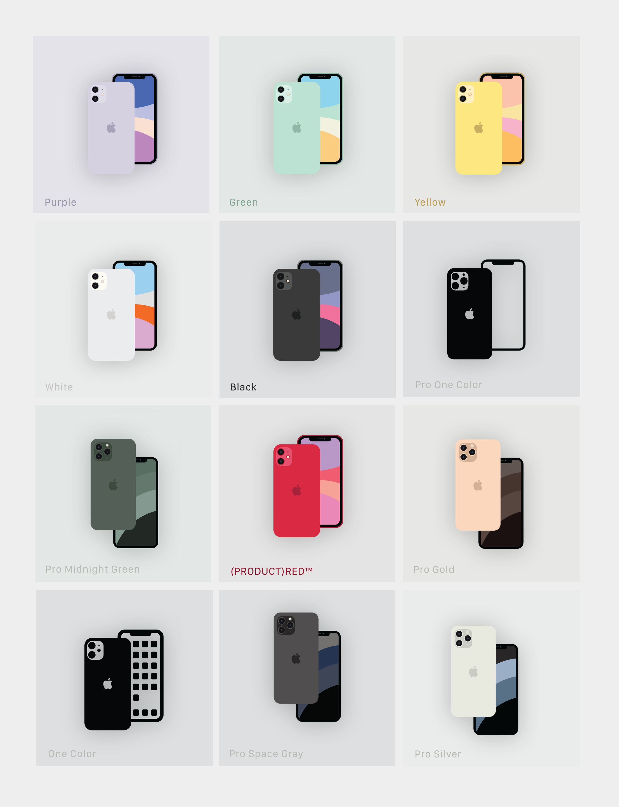 Set of 12 vector line, minimal filled and flat illustrations of the new Apple iPhone
