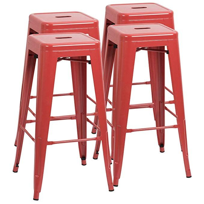 ad furmax 30 inches metal bar stools high backless stools