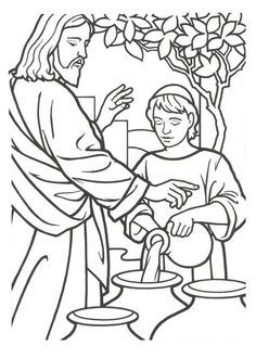 Miracles Of Jesus Is Turn Water Into Wine Coloring Page With
