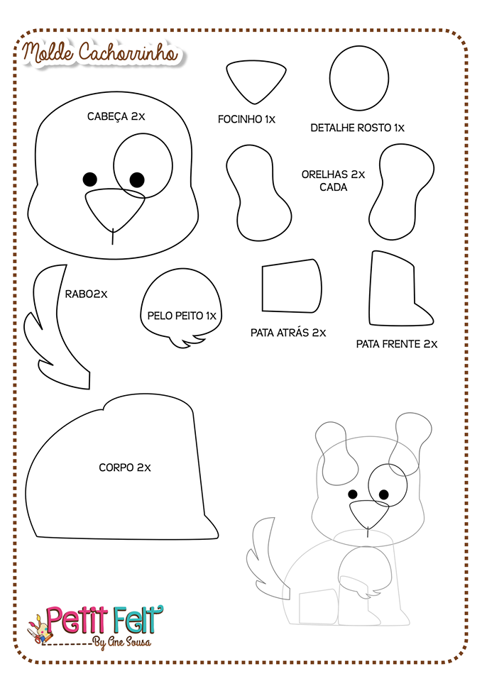 patron molde perro | patrones o moldes para fieltro, goma eva, tela ...