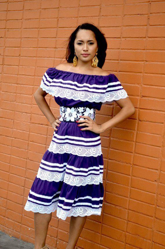 4fae19fe3536 Gorgeous Purple Mexican off Shoulder Dress crochet Lace Trim ...
