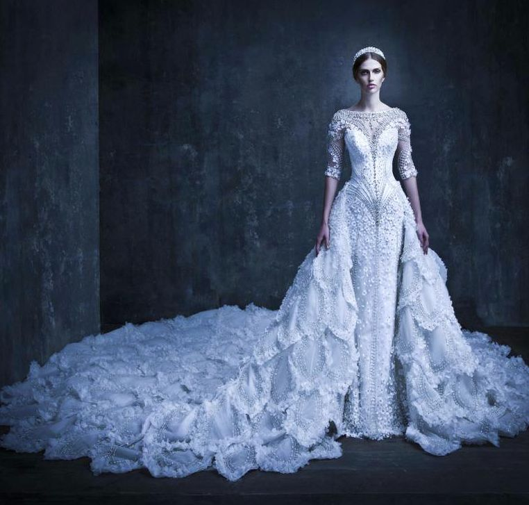 Michael Cinco 2017 Wedding Gown With What Looks Like Either A Cathedral Or Monarch Train