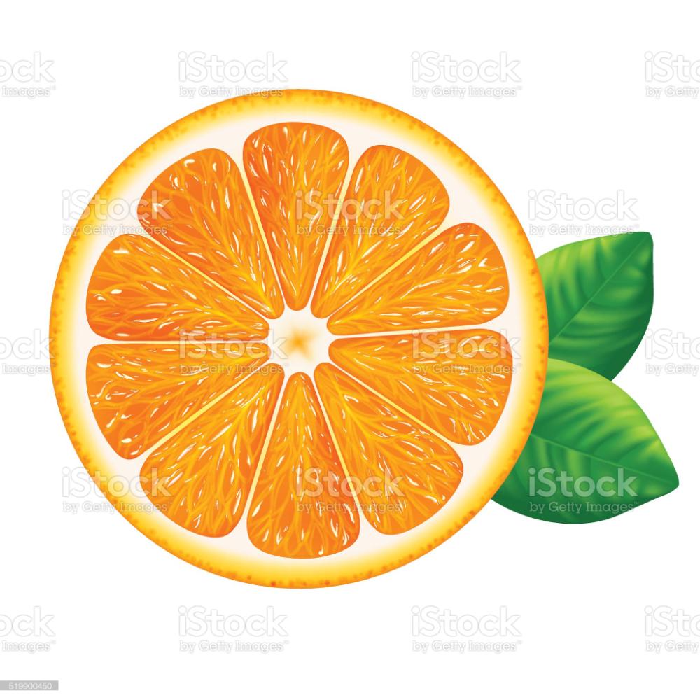 Orange Slice With Leaves Isolated On White Background White Background Free Vector Art Stock Illustration