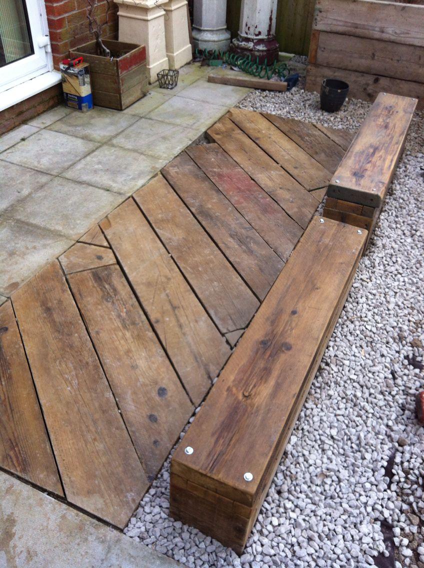 Decking Area. Old Scaffolding Planks. Cumbria. UK