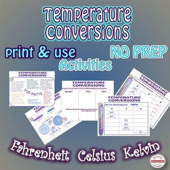 Science Math STEM Temperature Conversion Activities NO PREP with ...