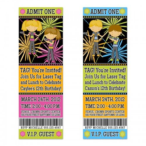 Party Ticket Invitations Laser Tag Party Ticket Invitationspersonalized Invites  Birthday .