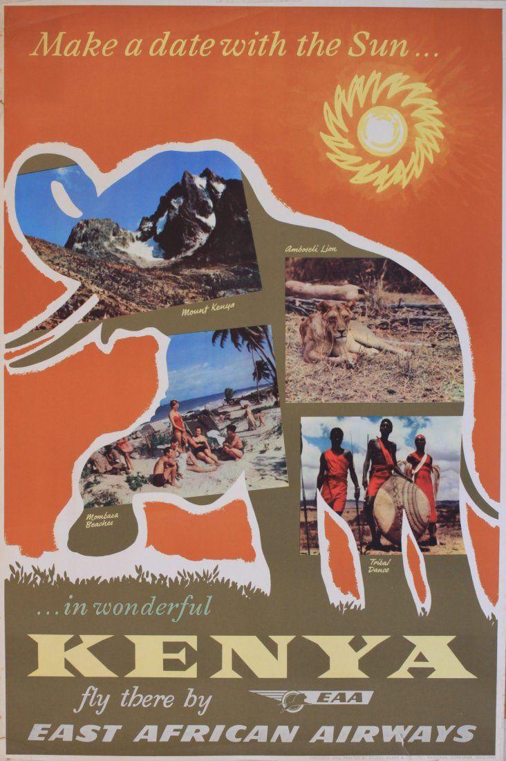 Vintage Travel Poster - Kenya 1955 - East African Airlines).