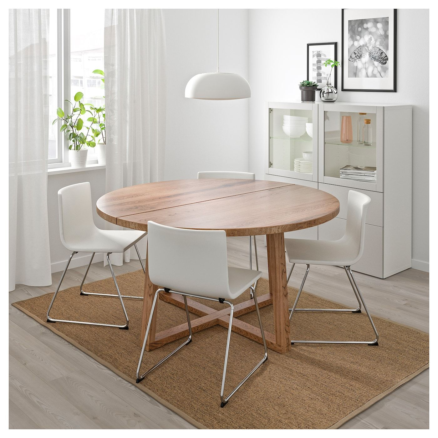 Morbylanga Table Oak Veneer Brown Stained 57 1 8 Ikea