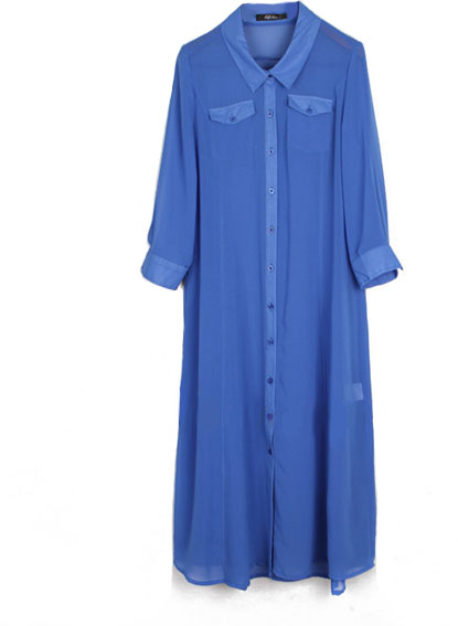 #chicnova                 #Clothing                 #Blue #Chiffon #Split #Shirt #Dress #with #Length #Sleeves                    Blue Chiffon Split Shirt Dress with 3/4 Length Sleeves                                                  http://www.seapai.com/product.aspx?PID=4844416