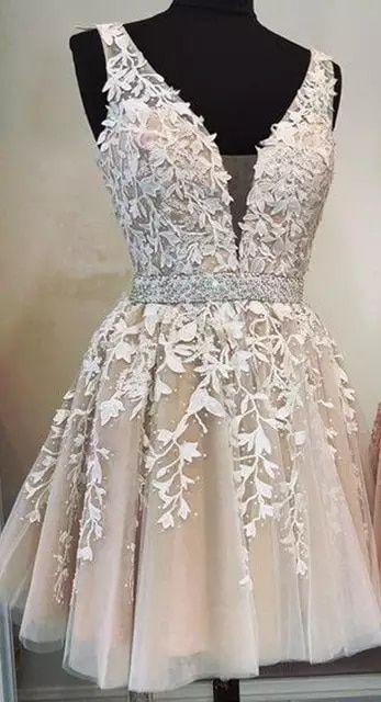 R$356.06 12% de desconto|Venda quente 2019 robe cocktail sexy v pescoço renda applique cristal pérola frisado uma linha brilhante curto elegante vestidos de cocktail|Vestidos de Noite| |  - AliExpress #elbiseler