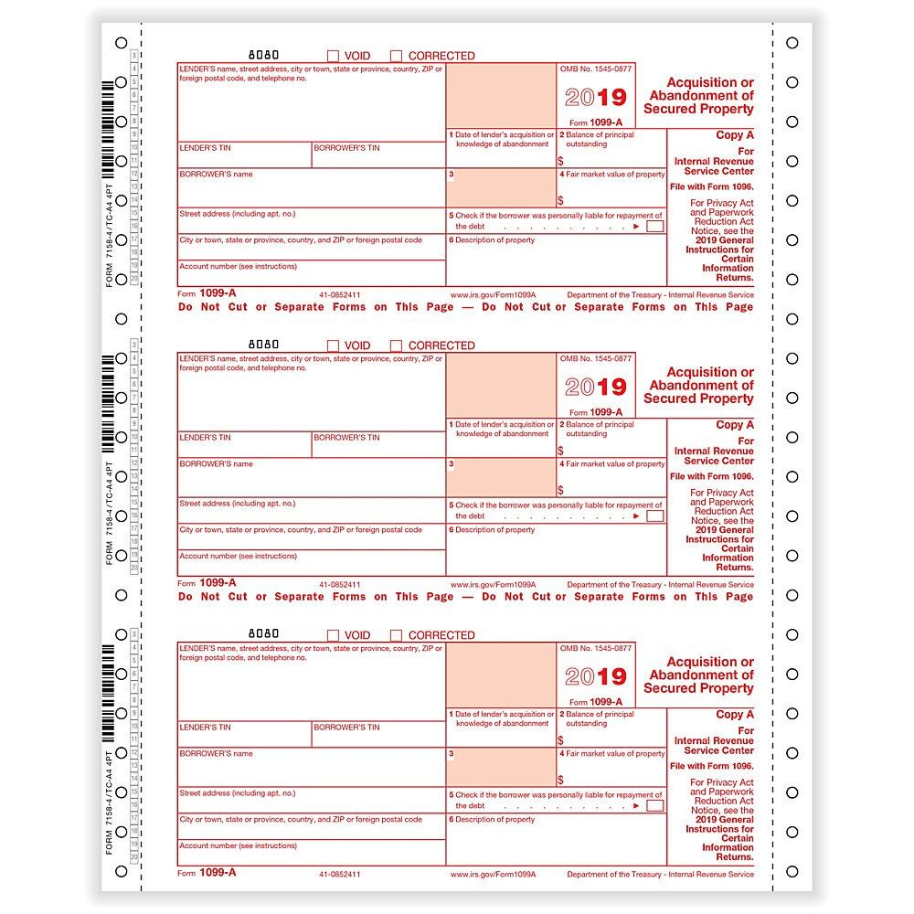 ComplyRight 1099-A Tax Forms, Continuous, Copies A, State