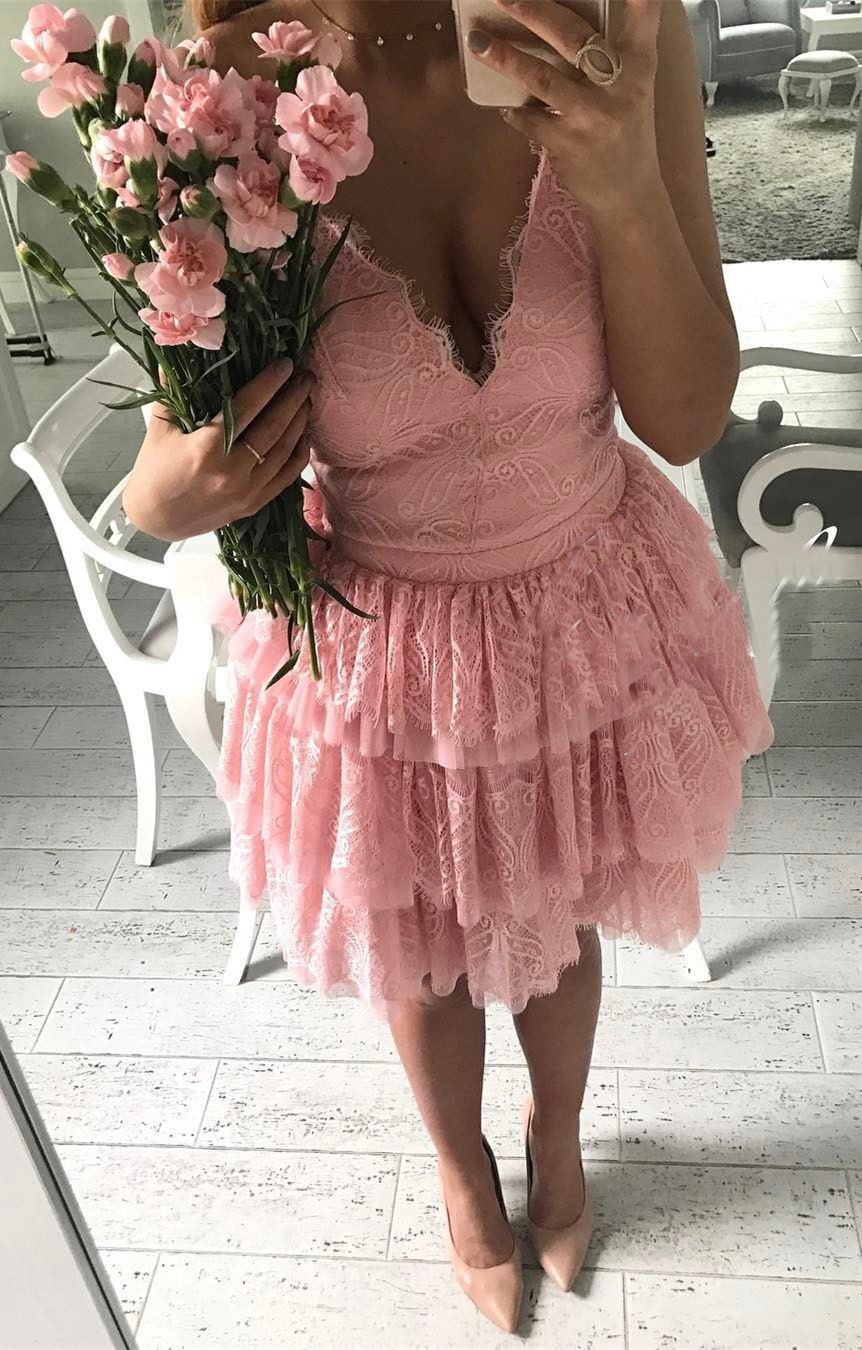 Pink lace party dresses chic vneck homecoming gowns short vneck