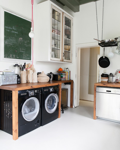 black appliances with wood