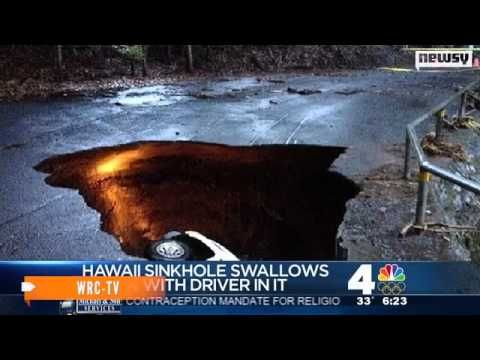 Hawaii sinkhole swallows truck — with driver in it 12/31/13