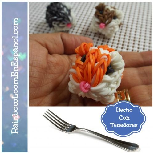 Conejillo de Indias de gomitas hecho con tenedores sin el telar