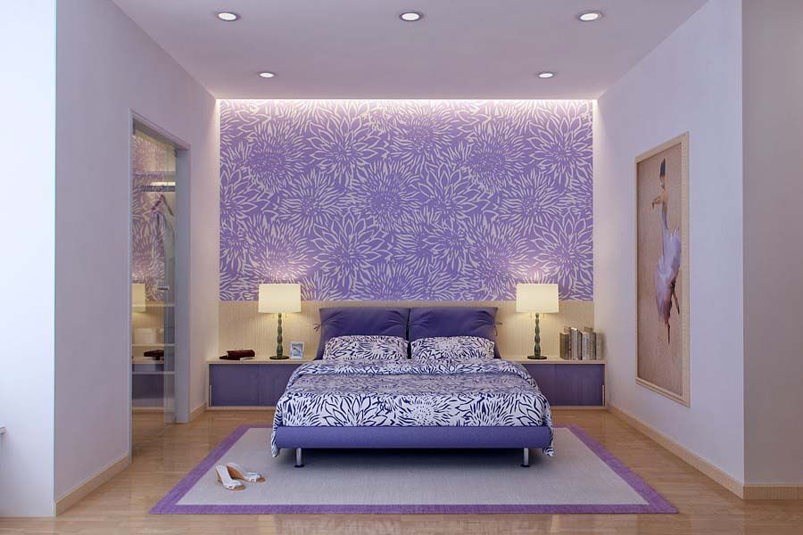 Love The Purple Wallpaper Accent Wall And Rest Of Bedroom In White