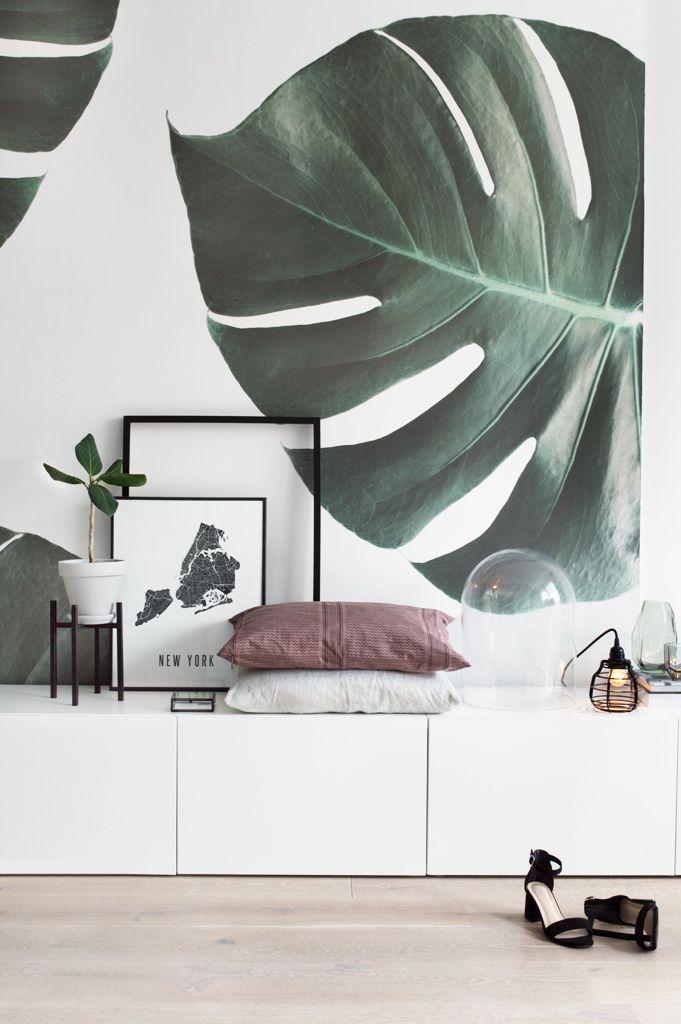 Botanisch behang in de woonkamer - Groen, Doors en Slaapkamer