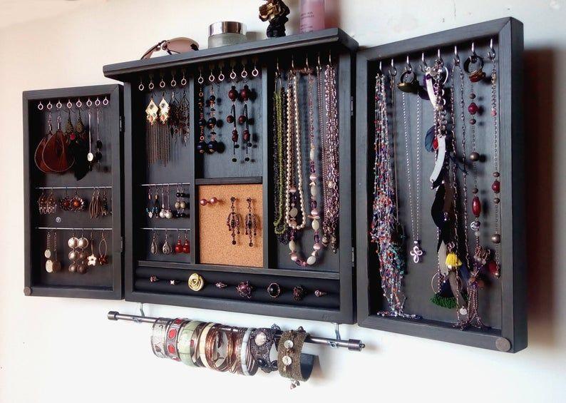Bijoux cabinet.earrings porte avec étagère. Stockage des bijoux Armoire.BLACK. Rangement mural ...