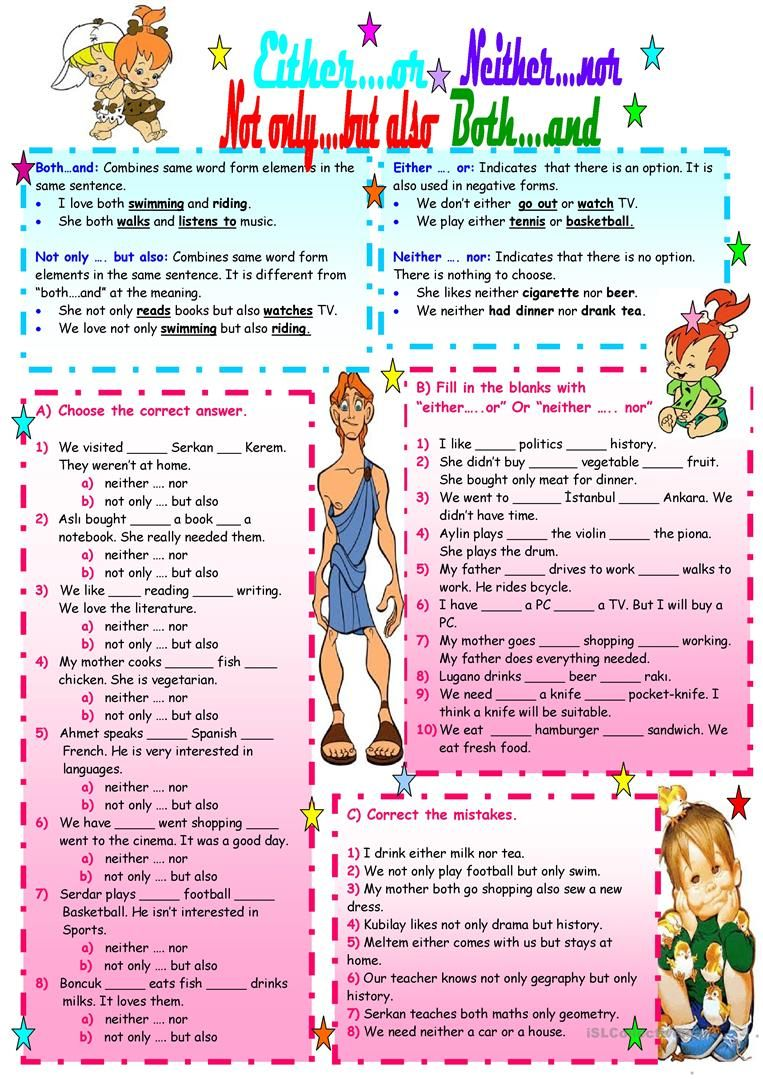 Either Or Neither Nor Not Only But Olso Both And English Esl Worksheets Linking Words English Lessons Grammar Practice