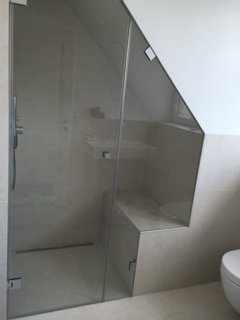 Photo of All Glass Shower With Sloping Ceiling And Cutout Bathroom Pinterest Best Of Shower …