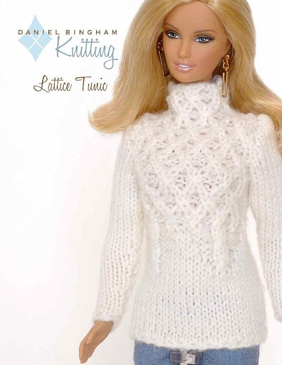 Knitting Pattern For 11 12 Doll Barbie Lattice Tunic