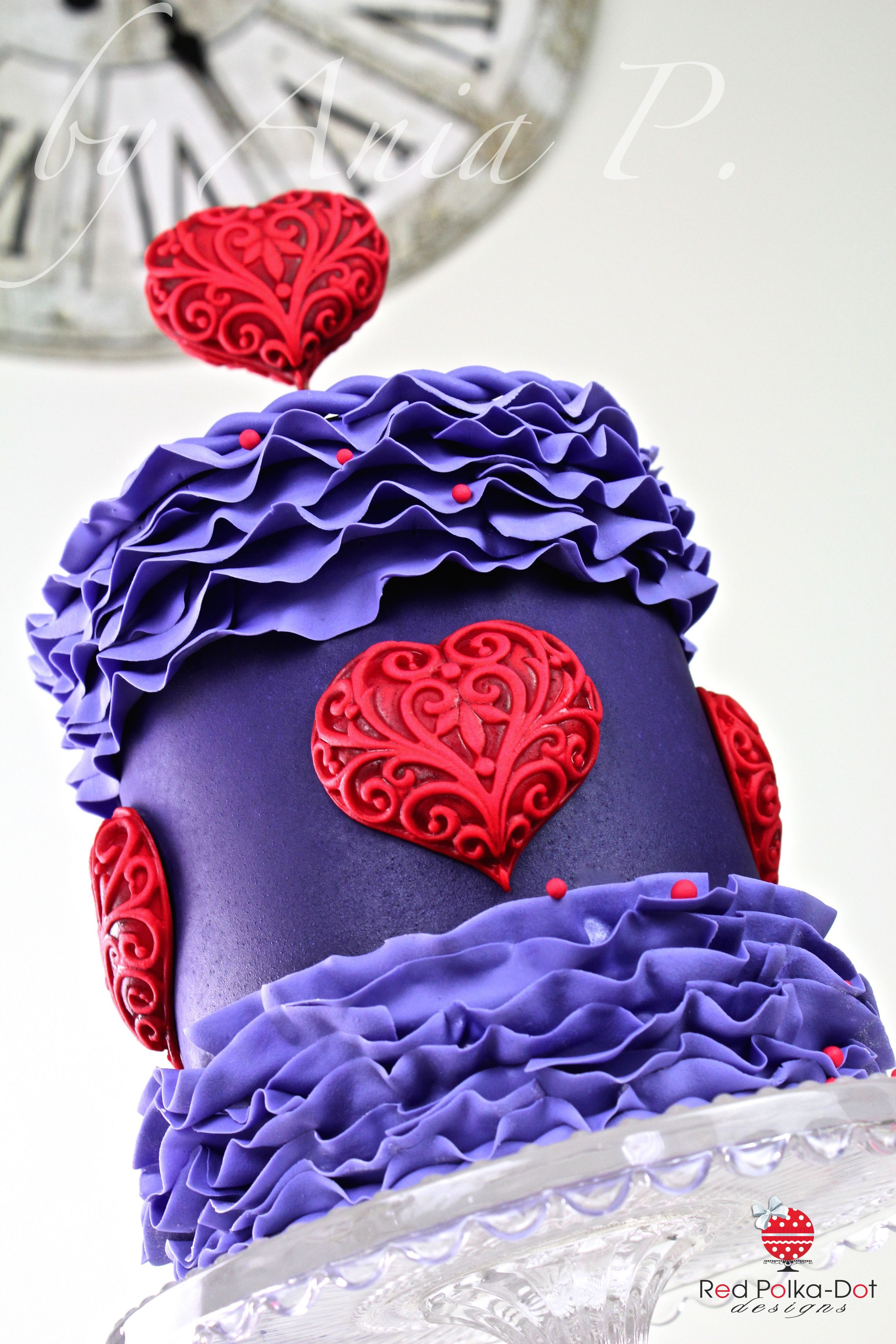 My valentine cake purple ruffles and red hearts by red polka dot