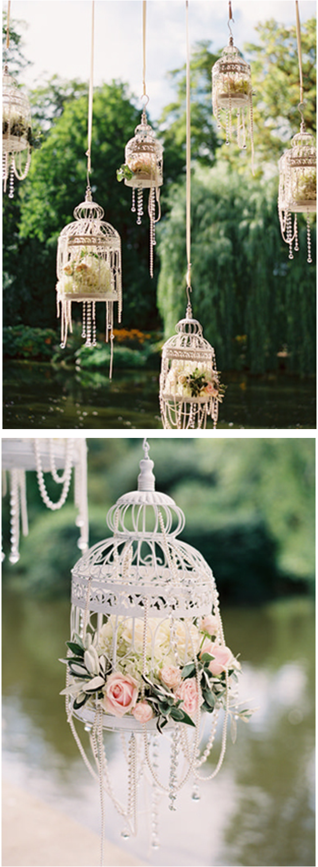white bird cages flowers pearls so pretty for an outdoor wedding or bridal shower http. Black Bedroom Furniture Sets. Home Design Ideas