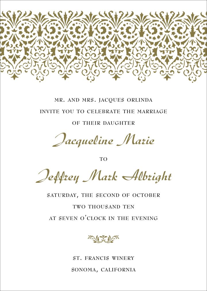 Wording For Wedding Invitations.Elegant Wedding Invitations Include A Calligraphy Font For