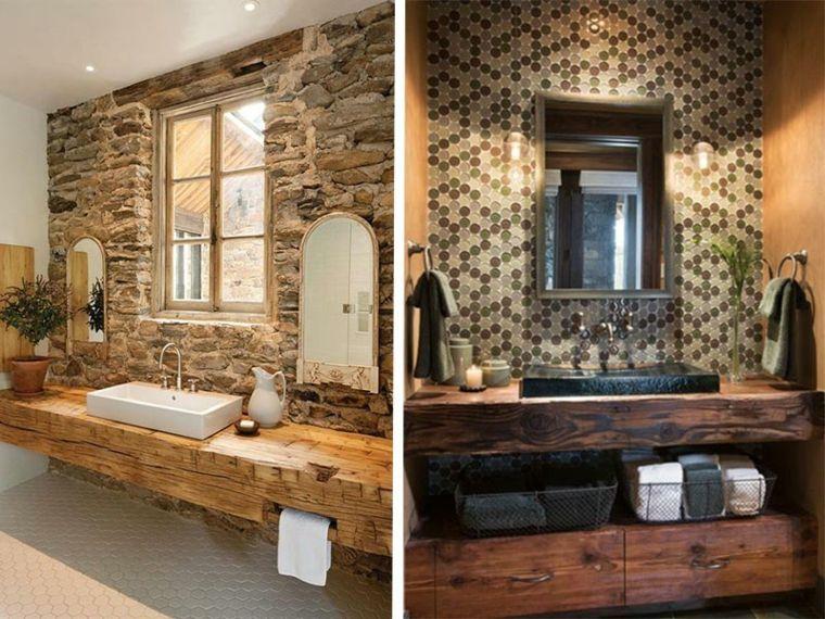 lavabos rústicos banos pared piedra natural ideas Interiores para