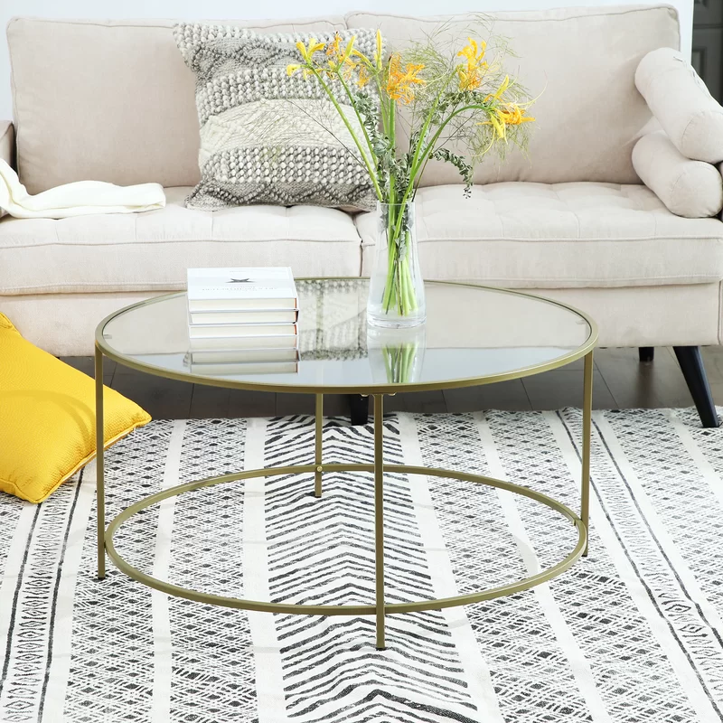 Ewalt Coffee Table In 2020 Round Glass Coffee Table Table Living Room Units