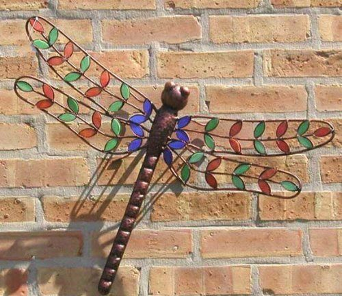 Stained Glass Dragonfly Wall Hanging Handcrafted Stained Glass Wall Art at Songbird Garden & Stained Glass Metal Dragonfly - Great Garden Display by Ancient ...