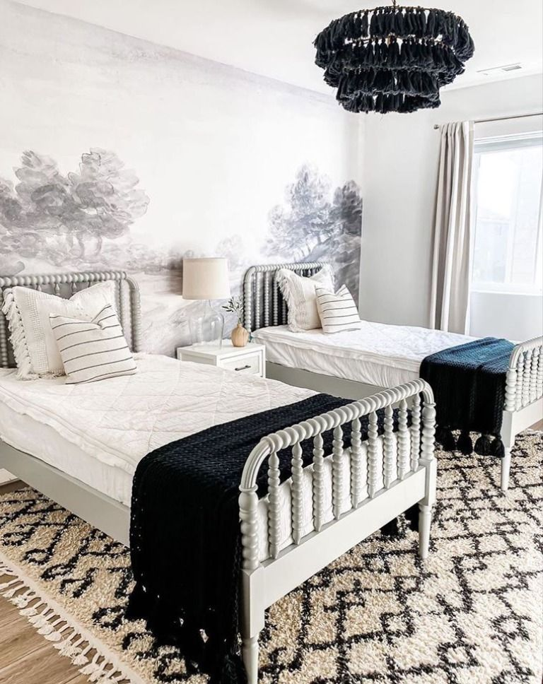 Double the fun! @houseon77th is finishing up her twins' big kid room! 💕 From the wall mural to the floor, featuring our Pahala Area Rug, this room is double the amazing decor! #boutiquerugs #arearug #modernrugs #farmhousedecor #farmhousestyle #moderndecor #modernstyle #styleyourspace #rugsofinstagram #designerrug #rugs #handmaderugs #ruglove #homedesign #interiorstyle #modernhome #ourhome #roominspo #home #farmhousefamily #farmhouse #bedroomdesign #twins #twinroom
