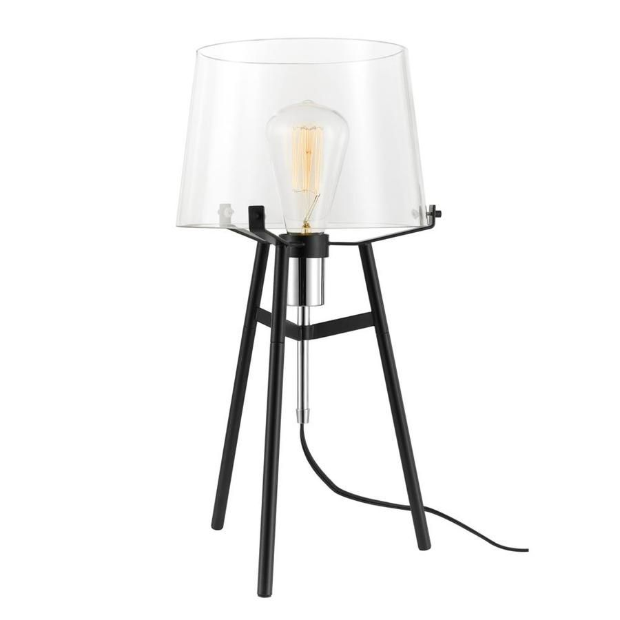 Globe Electric Lancaster 20 In Black With Chrome Socket Table Lamp With Glass Shade 67024 Table Lamp Lamp Drum Shape Lamp Shade