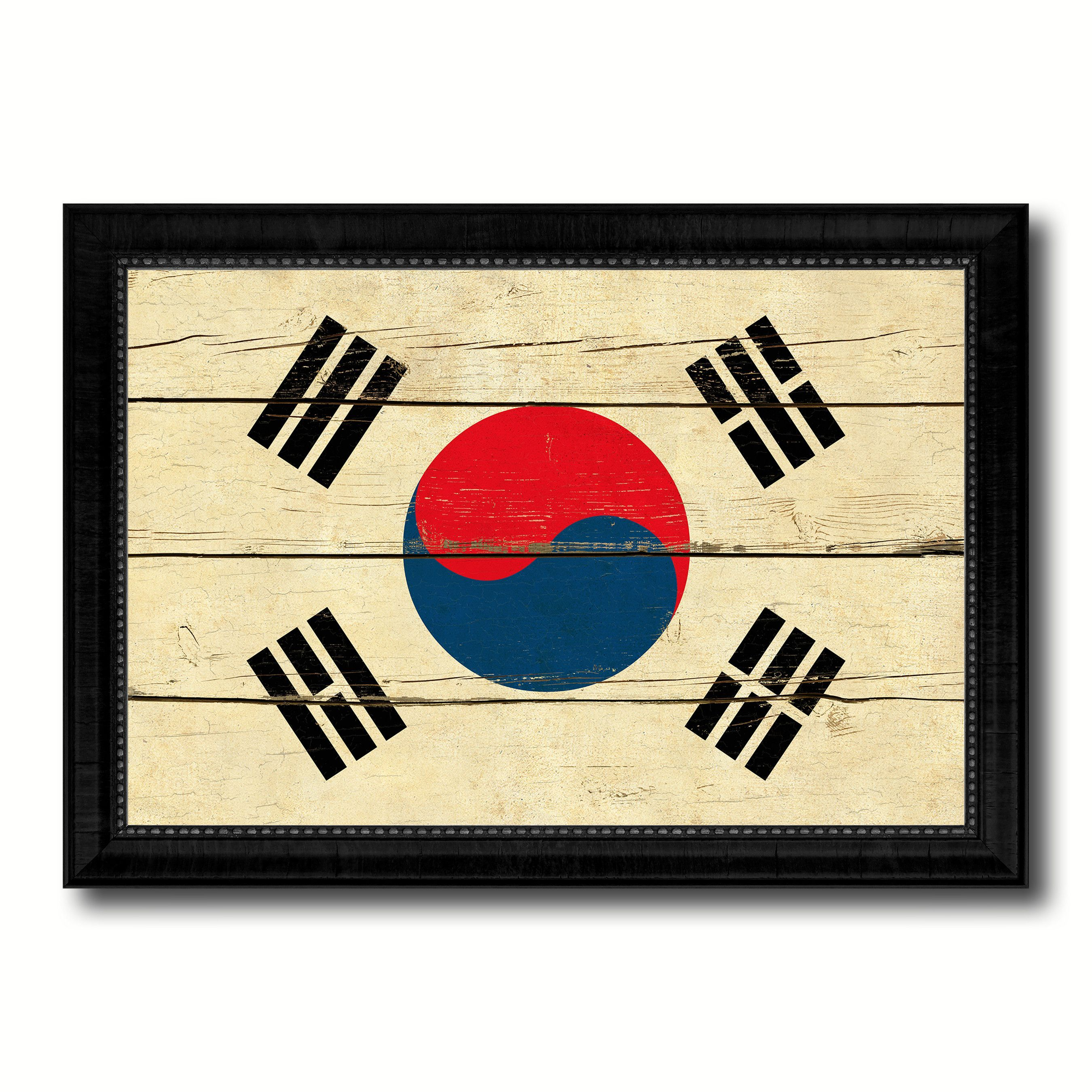 Korea Country Flag Vintage Canvas Print with Black Picture Frame ...