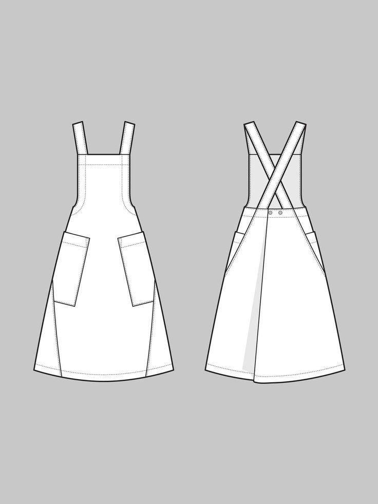 Apron dress pattern | Nähen schnittmuster, Nähen und Schnittmuster